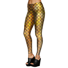 1696 Fitness Elastic Women Leggings Sexy Girl Polyester Slim Fit Workout Pants Trousers Retro Shiny Mermaid Gold Scale Printed