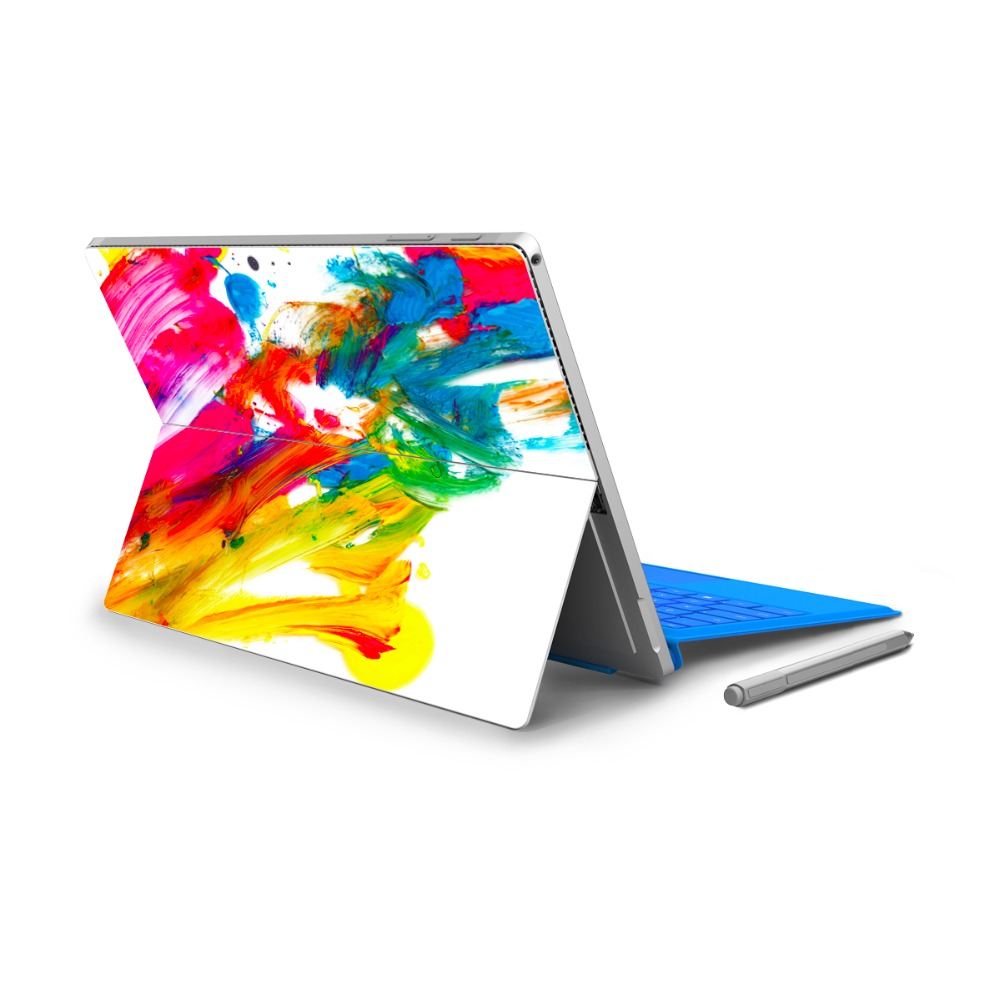 GOOYIYO - For Micro Surface Pro 4 Vinyl Back Full Decal Tablet Netbook Ultrabook Sticker Colorful Oil Painting Skin Logo Cut