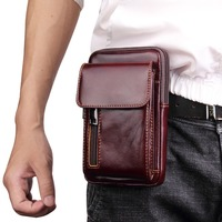 BuzzLee Men's Genuine Leather Retro Mobile Phone Bag Fashion Waist Belt Bag Money Coin Purse Phone Pouch for Huawei Mate 20 pro