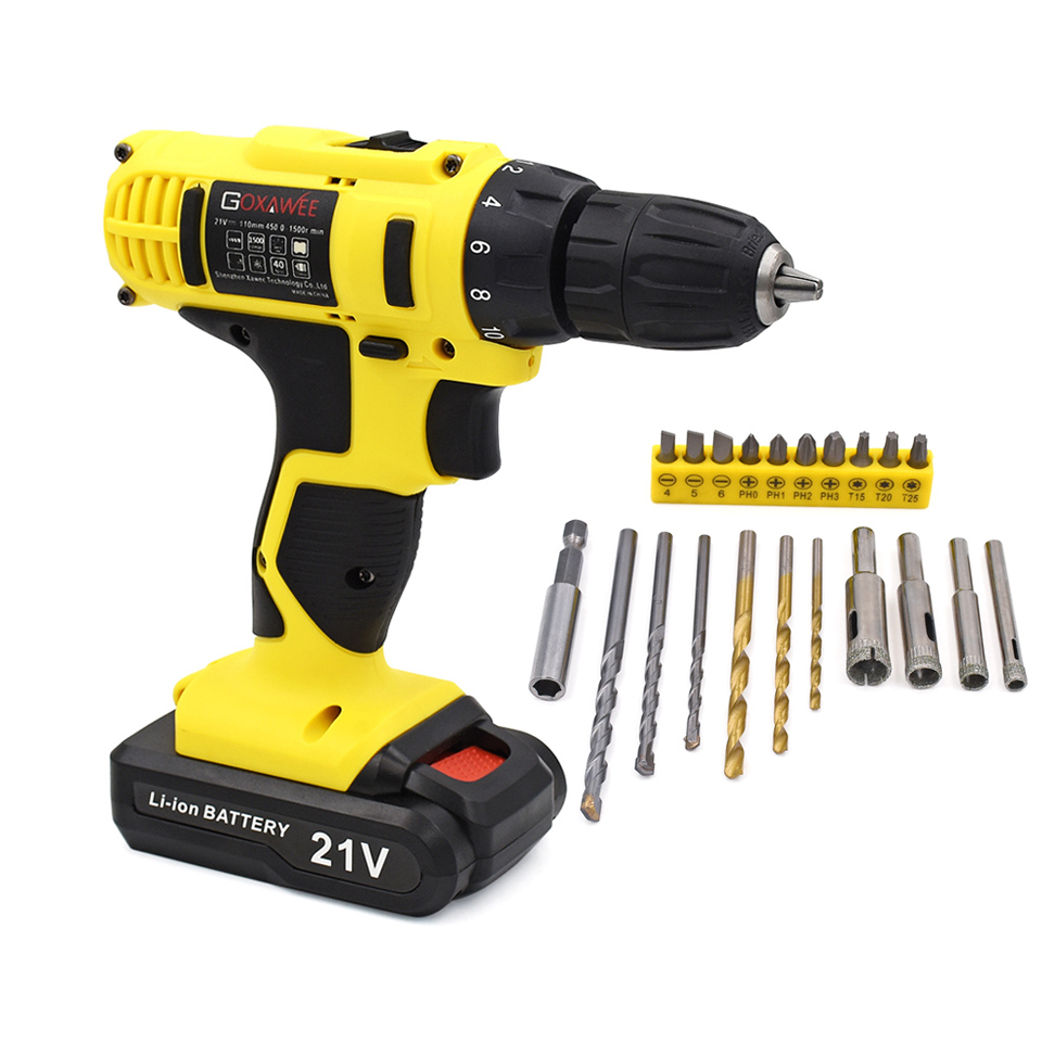 Electric Screwdriver 21V Battery Operated Cordless Screwdriver Drill Tool Electric Screwdriver Set 21pcs Drill Bits Accessories evelots battery operated self stirring mug black set of 2