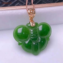 Certified Natural Hetian Jade Jasper Inlaid 18K Gold Lucky Pendant Hand Carved Green High  Quality Wonderful Gifts