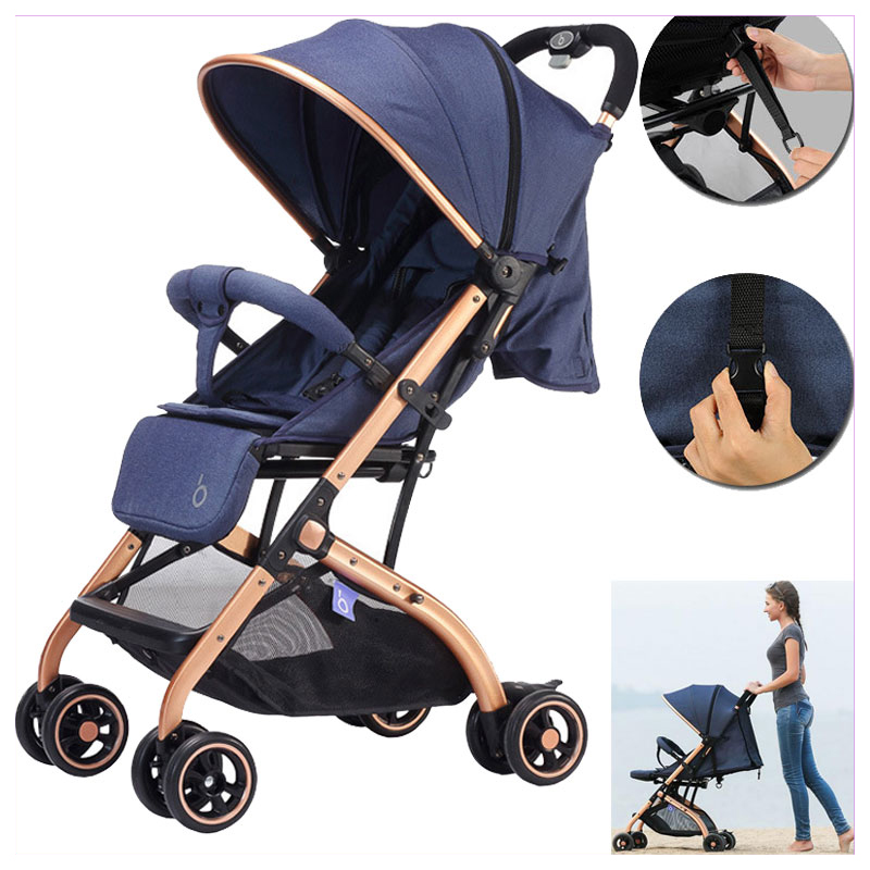 Baby Stroller Multifunctional Lightweight Baby Carriage Quick Folding Detachable Fabric Travel System Plane Baby Stroller Buggy