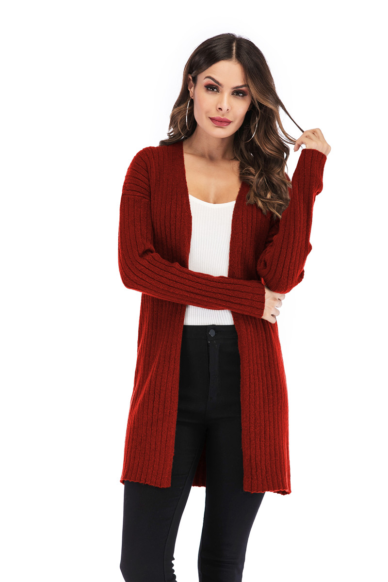 Fall Winter Cute Knitted Middle Long Ribbed Cardigan Dress for Women Kawaii Ladies Knit Drop Shoulder Sweater Coat Oversized S-L 9