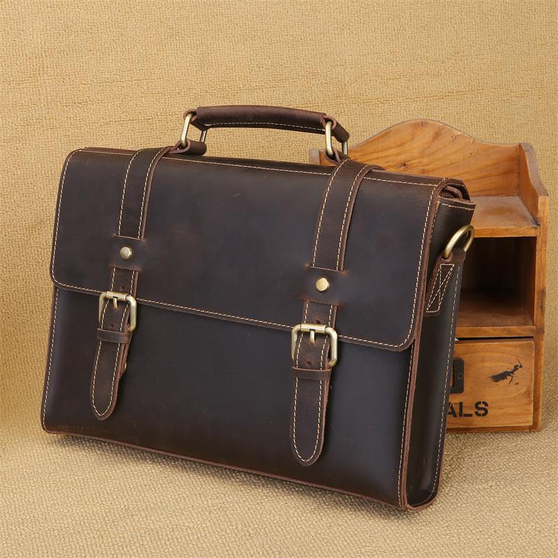 Retro Crazy Horse Leather Men's Bag Handbag Genuine Leather Men Briefcase Business Male Shoulder Messenger Bag Laptop Bags