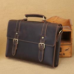 Retro Crazy Horse Leder herren Tasche Handtasche Aus Echtem Leder Männer Aktentasche Männliche Schulter Messenger Tasche Laptop Taschen