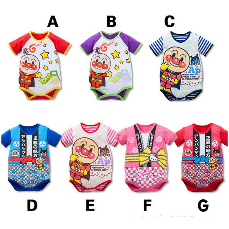 100% Cotton New Baby Children Clothing Romper Jumpsuit Anpanman Activity Kids Sport Short Sleeve Clothes Birthday Christmas Gift