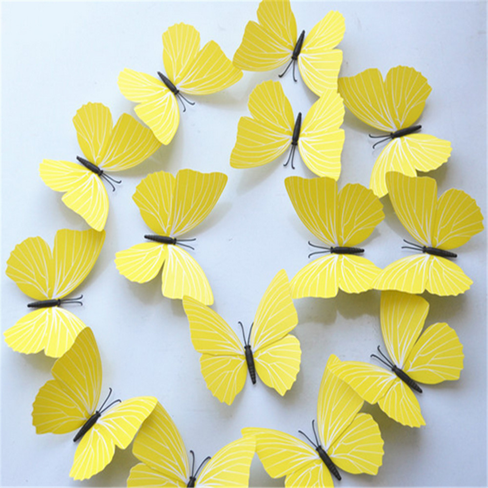 12pcs / Los Angeles PVC DIY Butterfly Wall Stickers Home Decor ...