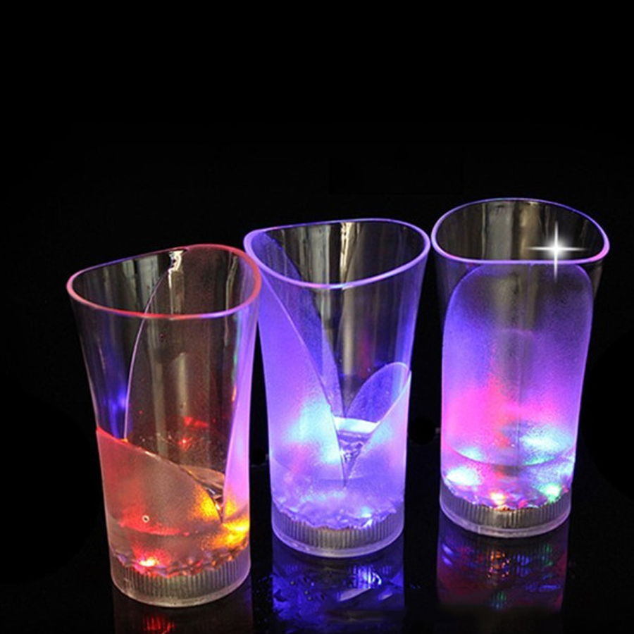 Glass juice cups design - Special Design Color Changing Cups Glass Creative Cups Led Light Round Beer Steins Button Battery High