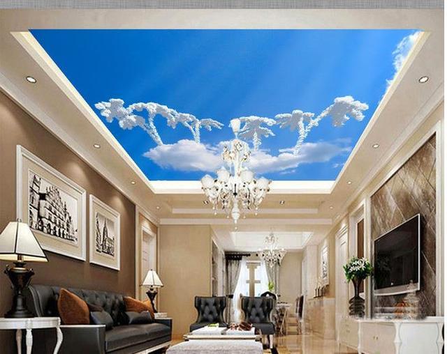 Custom d behang blauwe hemel zenith een paddestoel cloud