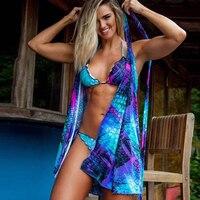2019 Women Sexy 3 PCS Swimsuit Fish Scale Printed Bikini Set+Cover Ups Summer Brazilian Swimwear Beachwear Cardigan Bathing Suit