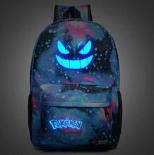 Мужская Рюкзак Pokemon Gengar Рюкзак Galaxy Световой Печати Рюкзак Анимация Рюкзак Школьные Сумки для Подростков Mochila