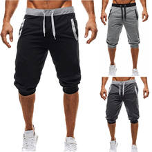 Summer men Leisure Men Knee Length Shorts Color Patchwork Joggers Short Sweatpants Trousers Men Bermuda Shorts roupa masculina(China)