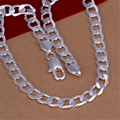 Trendy 10MM 20inches Long 925 Silver body Chain Necklaces Men Fashion Flat Necklaces Jewelry Silver Necklace.SNP005