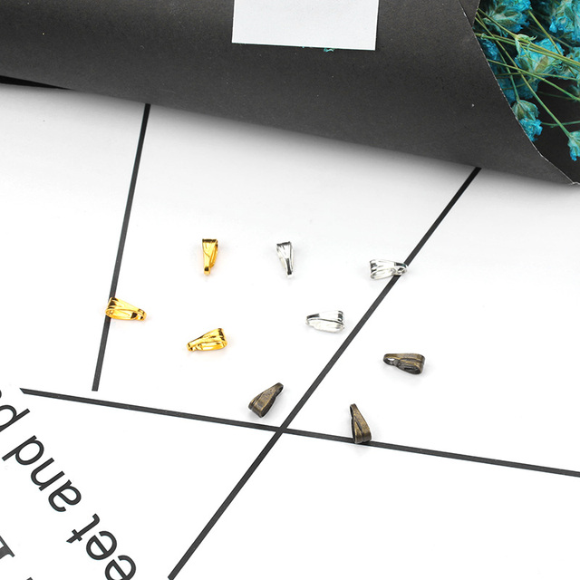 300pcs/lot Pendant Clips Pendant Clasps Pinch Clip Bail Pendant Connectors Jewelry Findings DIY jewely parts accessories