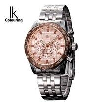 IKcolouring Lujo Mens Mecánico Automático Auto-Wind Watch Multi Funcional 3 Ojos Diseño Calendario Correa de Acero Inoxidable Reloj