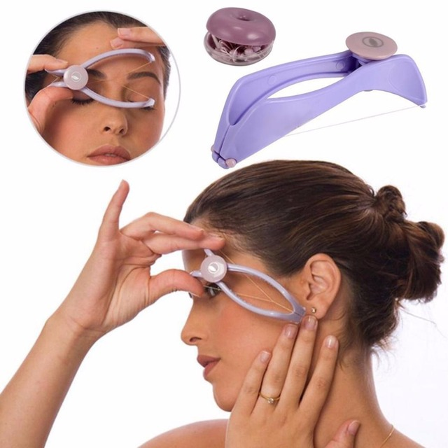 Women Mini Facial Hair Remover Spring Threading Epilator Face Defeatherer Hair Removal DIY Makeup Beauty Tool for Cheeks Eyebrow