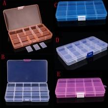Movable Shelf Plastic 15 Slots Adjustable Jewelry Storage Box Case Craft Organizer Bead Organizador Prateleira Collect Tools