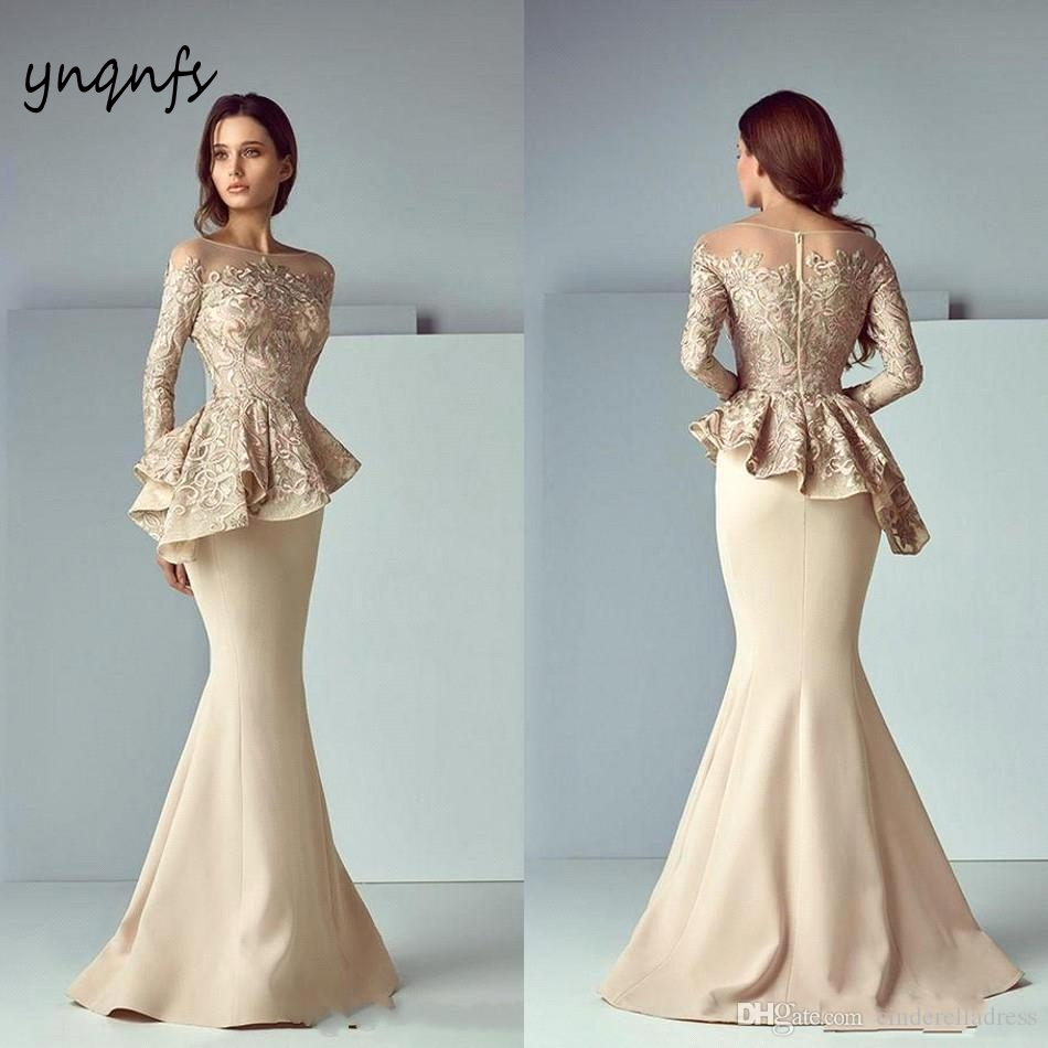 YNQNFS ED122 Vestido Longo Kaftan Cape Cloak Long Sleeves Mermaid Sexy Open Bust Gold Evening Gown Party Long Dress Elegant 2019