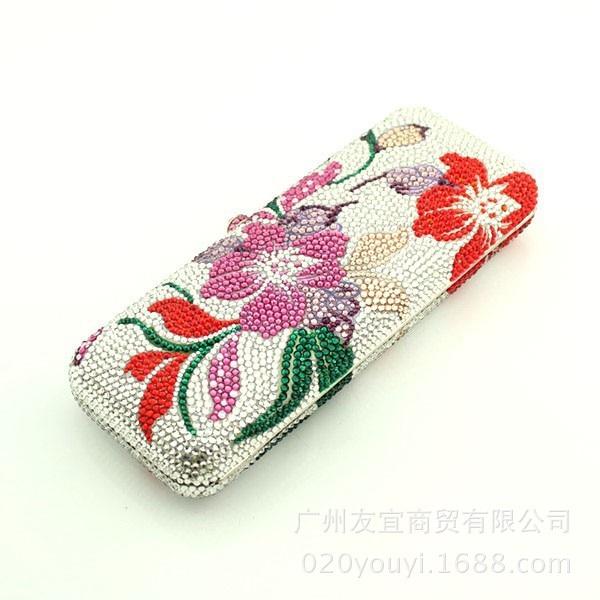 Luxe personnalisé, perceuse complète, sac à main, longue boîte, boîte à fleurs, dîner, sac en cristal de couleur autrichienne, commerce extérieur. - 3