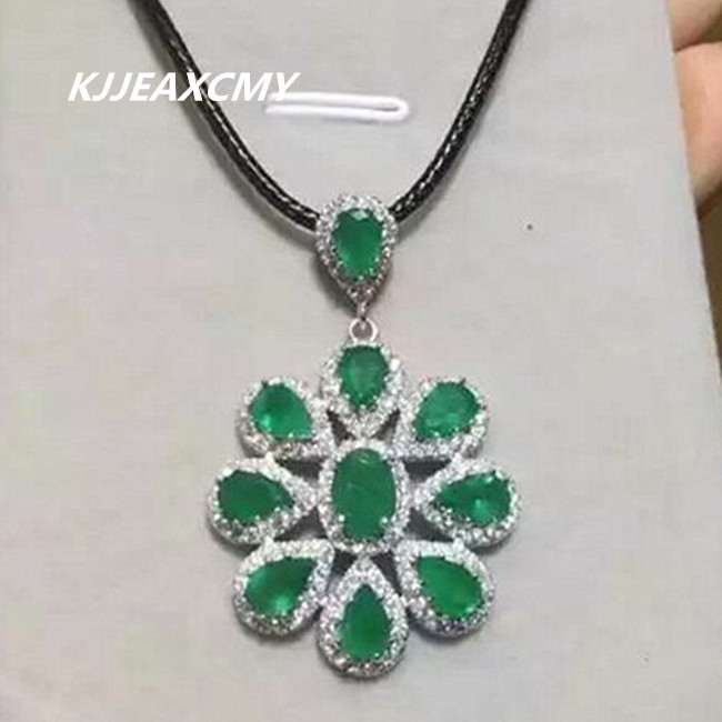 KJJEAXCMY boutique jewelry,Natural Emerald Pendant inlaid silver sterling silver jewelry wholesale nike S925 wholesale wholesale