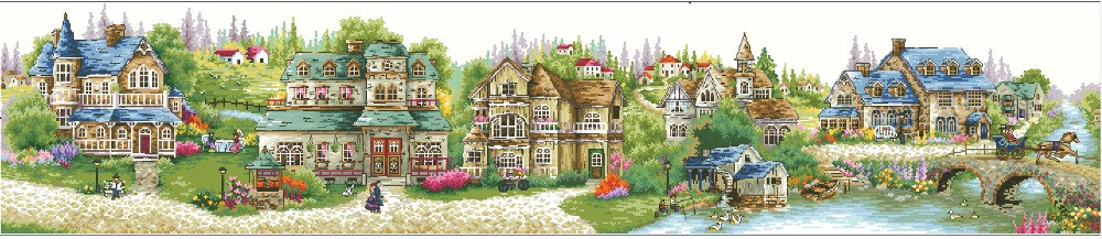 Oneroom Top Quality Popular Counted Cross Stitch Kit A Green Village Country Countryside City Town House Home Dome