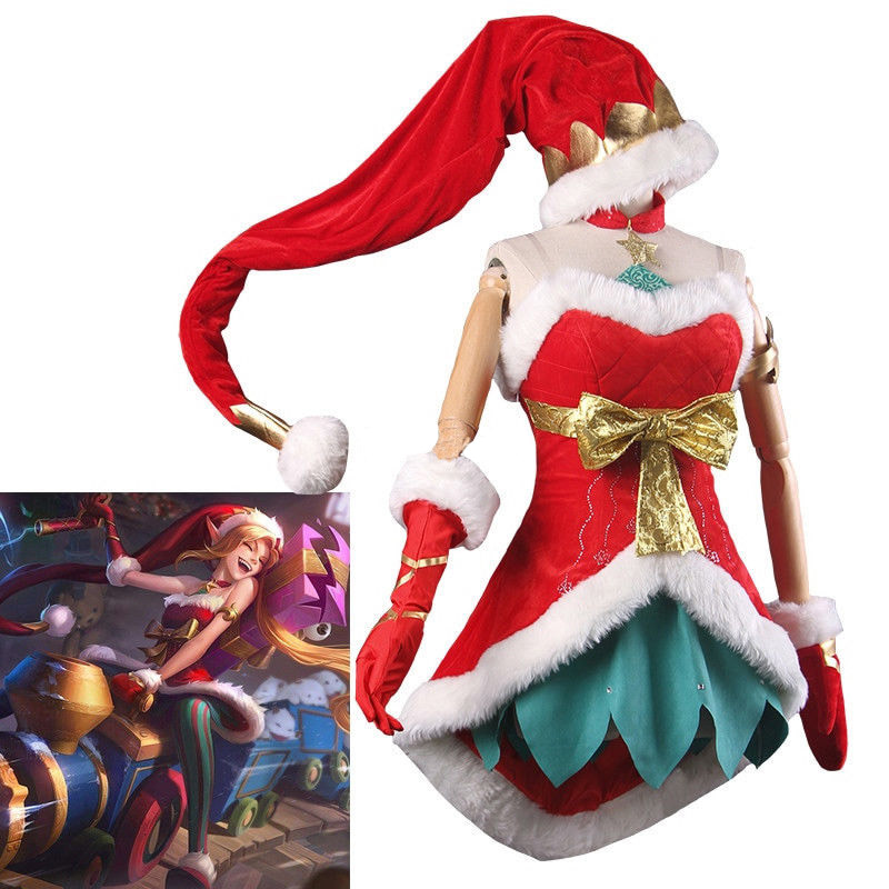 Game LOL Costumes Jinx the Loose Cannon Ice Snow Festival Christmas XMAS Boob Tube Top Dress Uniform Outfit Party Cosplay