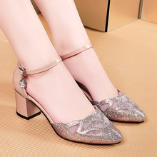 Bling Sequiend Pointy Toe Belt Buckle Black Champagne PU Stitching Gauze Medium Thick Heels Women Shoes Size 40 Banquet Shoe