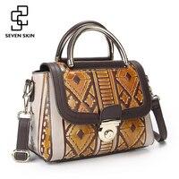 SEVEN SKIN Brand 2017 Vintage Designer Women Handbag Genuine Leather Bag Small Luxury Female Messenger Bags