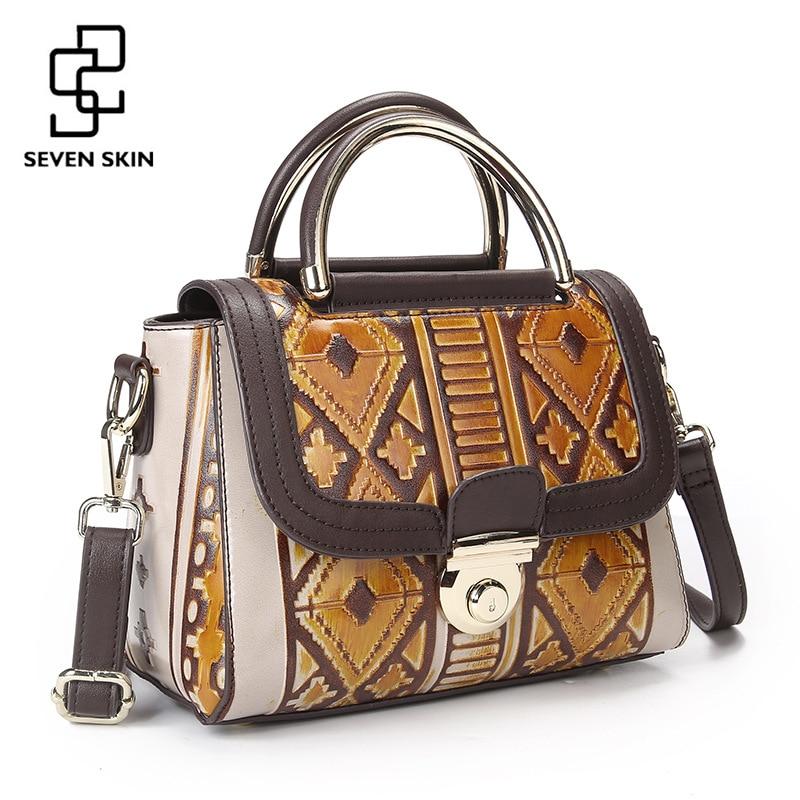 SEVEN SKIN Brand 2018 Vintage Designer Women Handbag Genuine Leather Bag Small Luxury Female messenger bags Retro sac a main все цены