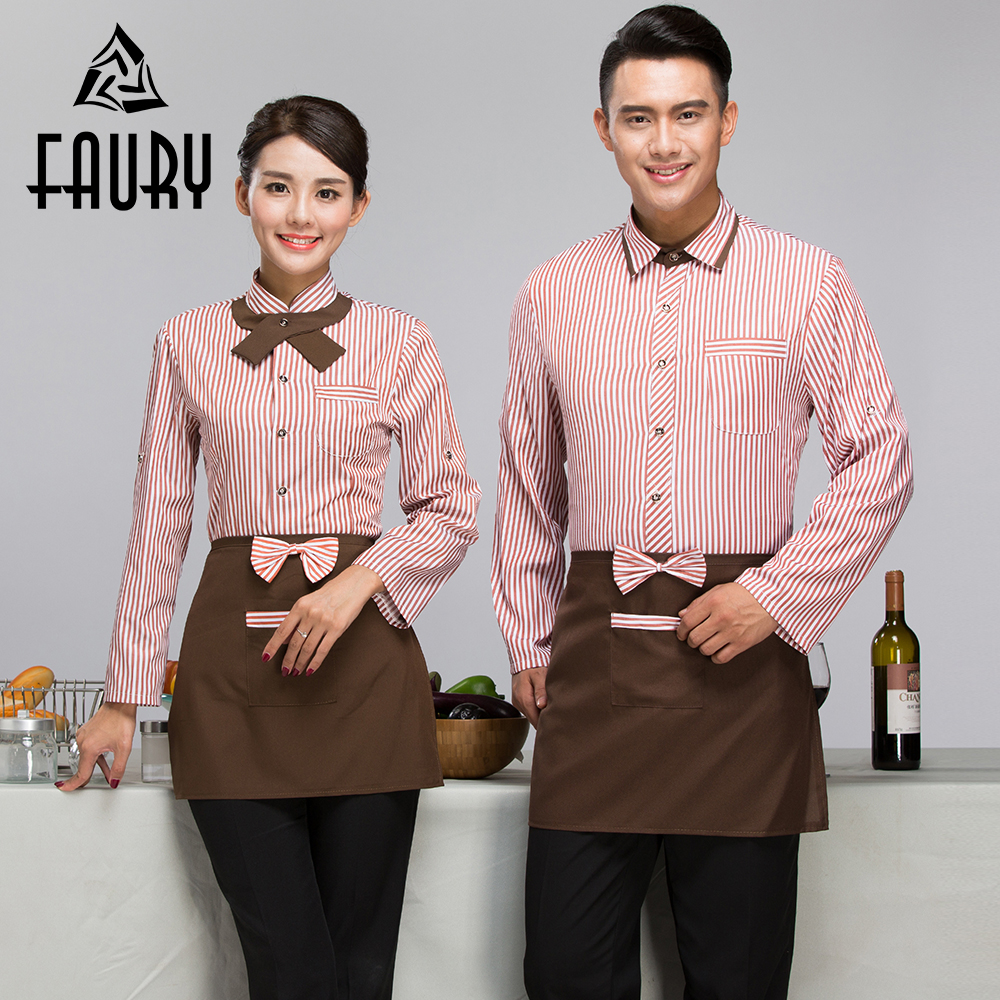 Men Women Work Wear Uniforms Hotel Bakery Cake Shop Cafe Waiter Waitress Spring Long Sleeve Striped Single Breasted Novelty Coat