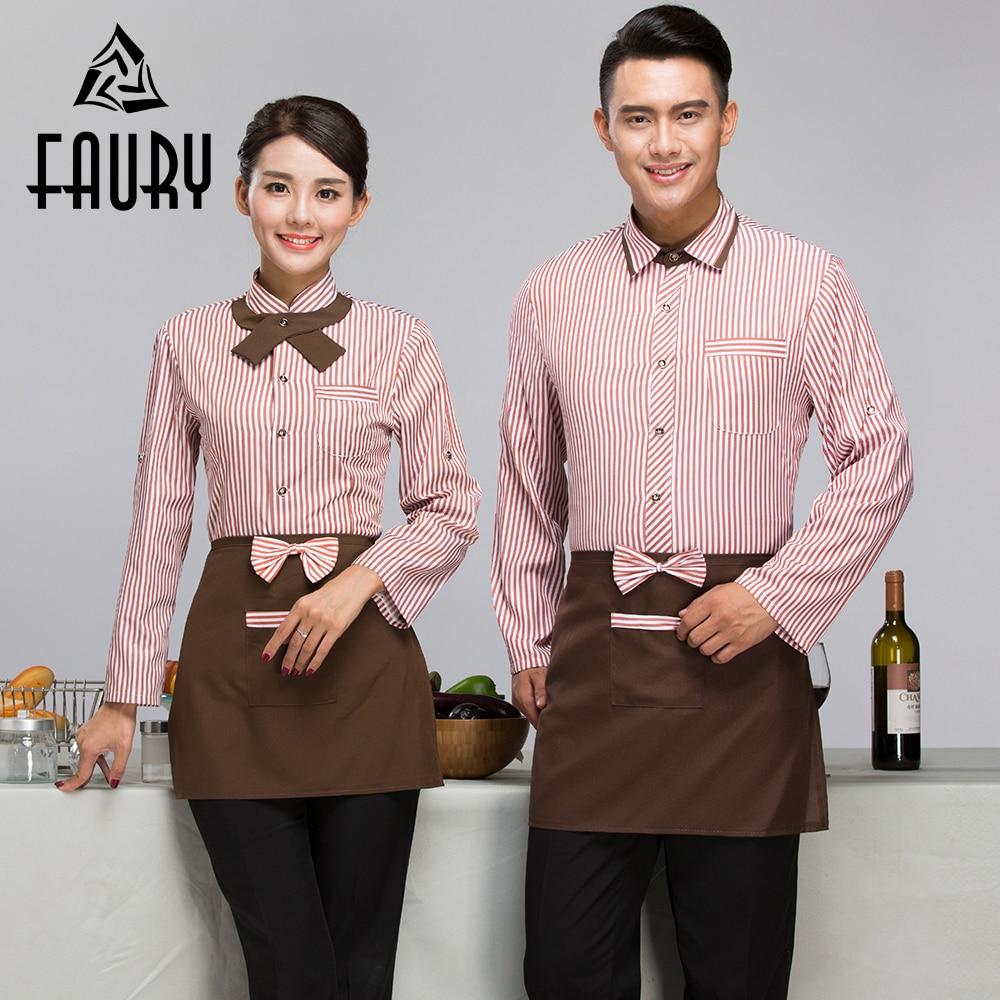 Men Women Work Wear Uniforms Hotel Bakery Cake Shop Cafe Waiter Waitress Spring Long Sleeve Striped Single Breasted Novelty Coat