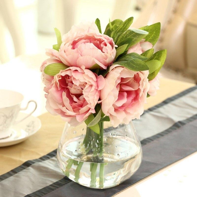 1 Bouquet 15 Heads Fake Flower Rose Head Artificial Simulation Silk Diy