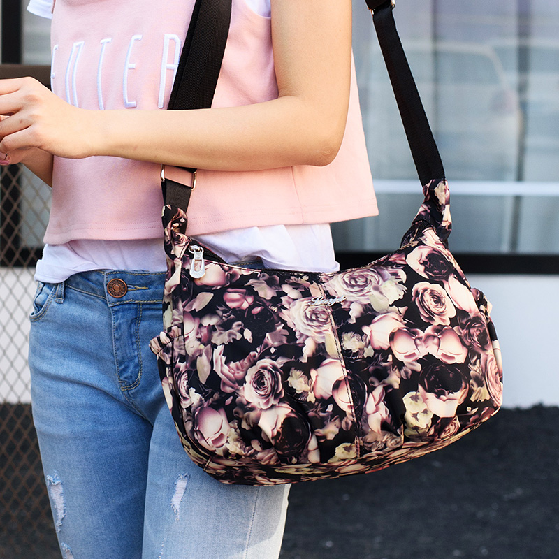 Messenger Bags Women Flowers Printing Waterproof Nylon Handbag Female Shoulder Ladies Crossbody Bags bolsa sac a main femme de