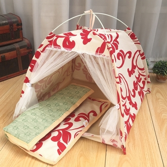 Four-corner pet tent Geometric pattern Bracket dog Cotton house Four-season Easy to clean and carry