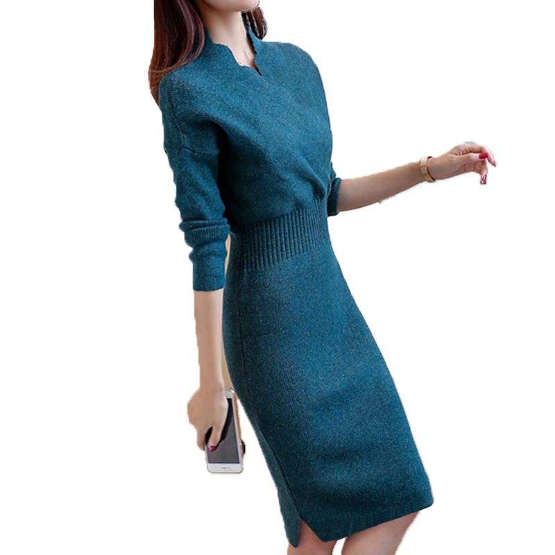 Autumn and winter new Korean womens sweaters in the long section pullover dress Slim shirt at the knee