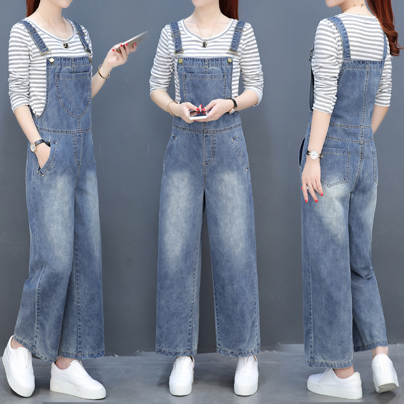 2018 Womens Denim Overalls Solid Jeans Jumpsuits Office Casual Loose