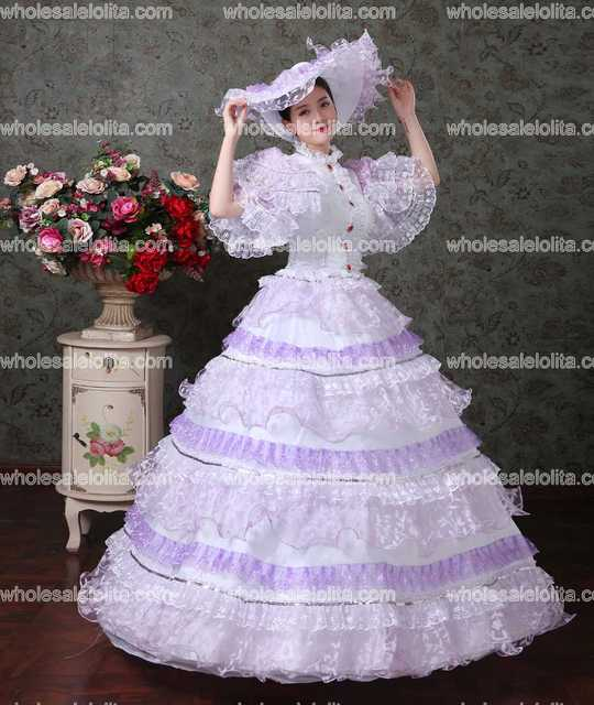 Purple Lace Vampire Masquerade Ball Dress Civil War Southern Belle Ball Gown Marie Antoinette