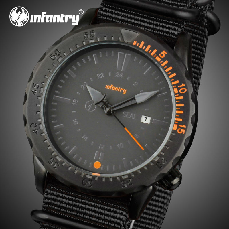 INFANTRY Mens Quartz Watches Luxury Brand Nylon Strap Sports Auto Date Casual Wristwatches Clocks Relogio Masculino 2016