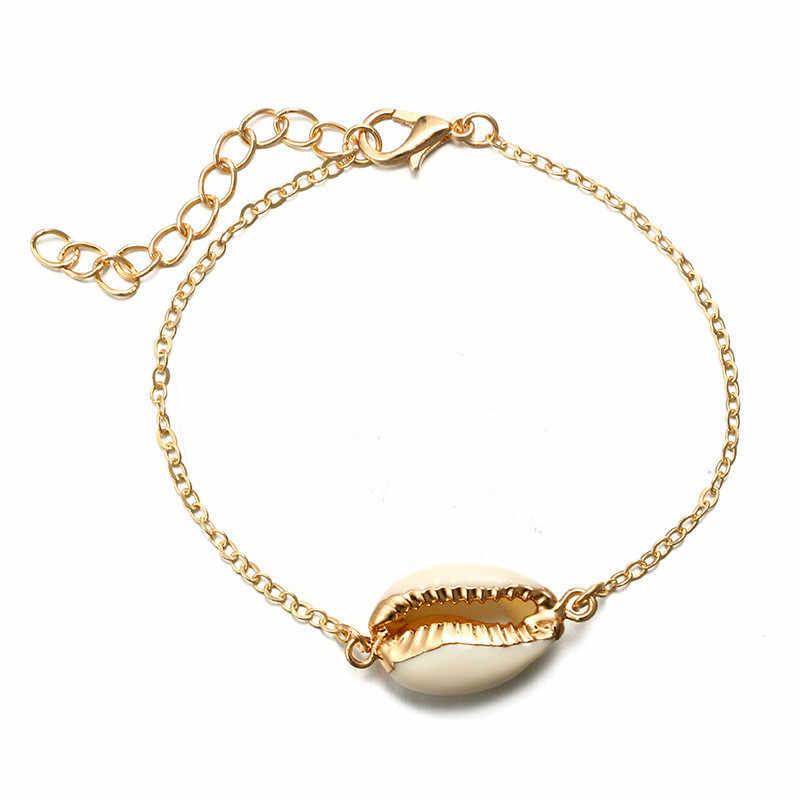 ใหม่แฟชั่น Cowrie Shell สำหรับผู้หญิงเชือกสร้อยข้อมือขาทองสีลูกปัดข้อเท้าโบฮีเมียชายหาดเครื่องประดับ