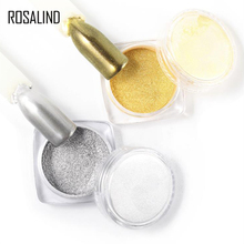 Rosalind 1 Box 2g Laser Nail Glitters Silver Gold Color Magic Mirror Effect Art Powder Dust With A Free Brush LROA