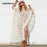 Kakaforsa 2019 New Sexy White Smock Beach Cover Up V neck Lace Solid Bathing Suit Summer Women Mesh Long Skirt Bikini Swimwear