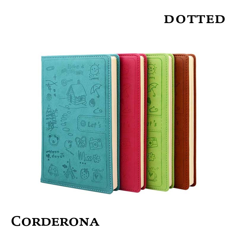 Dot Grid Bullet Journal Hard Cover Notebook Stationery Business Cartoon Lovely Dotted Bujo Travel Planner Diary