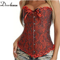 Sexy Corselet Women Bustiers Top Satin Embroidery Overbust Corsets Plus size S-4XL sexy lingerie hot sale LC5085