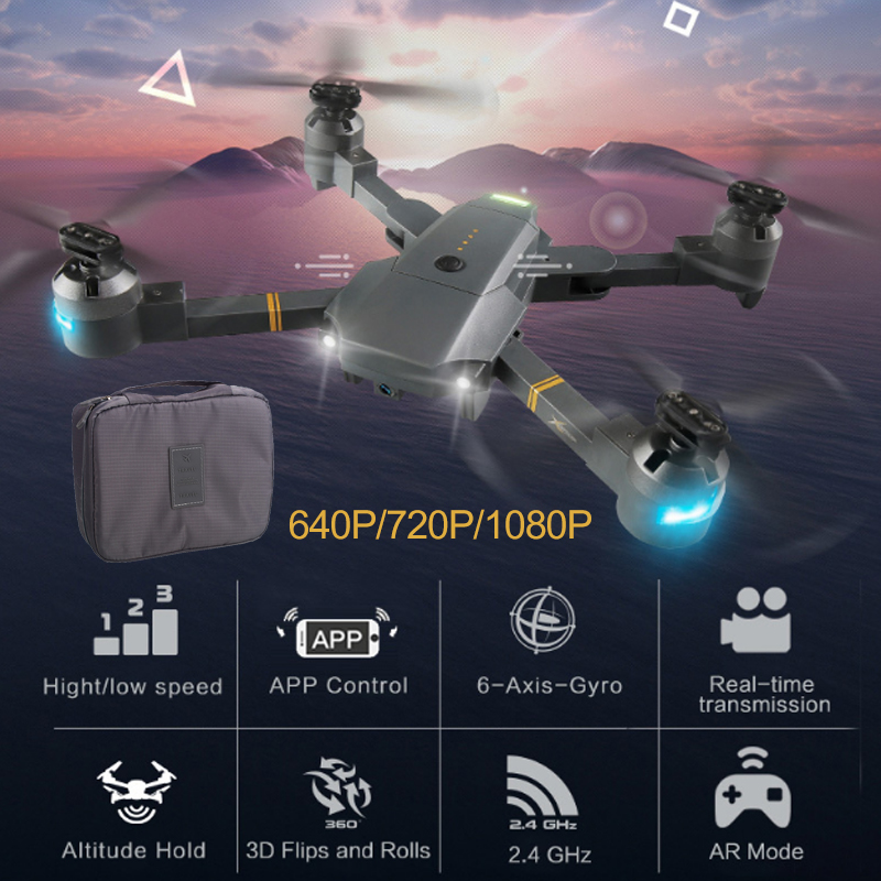 Lensoul XT-1 Drone Wifi FPV 1080P HD Wide Angle Camera LED Lighting Fixed High Folding UAV with Receiving Packet Quadcopter