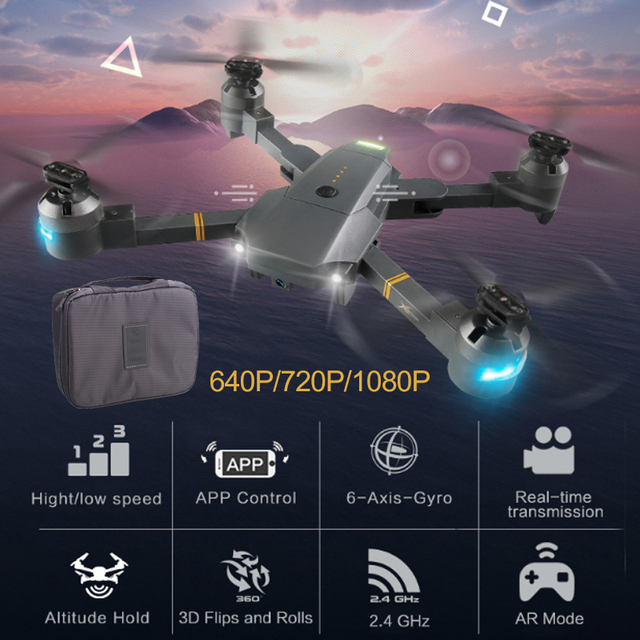 Lensoul XT-1 Wifi FPV 1080P HD Wide Angle Camera LED Lighting Fixed High Folding UAV with Receiving Packet Quadcopter