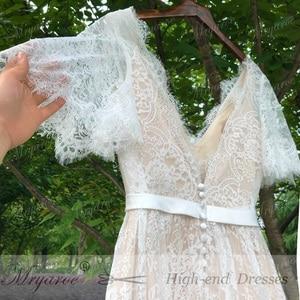 Image 3 - Mryarce nova chegada alargamento mangas rendas boêmio jardim vestido de casamento v pescoço a linha aberta voltar boho vestidos de noiva