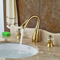 Newly Luxury Bathroom Basin Faucet Gold Plate 3Pcs Sink Mixer Tap Vessel Faucet Dual Crystal Handles