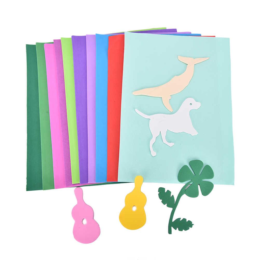 Çocuklar el yapımı DIY el sanatları kalınlaşmak A4 sünger EVA köpük kağıt koltuk minderi yedek döşeme levha başına rastgele renk 10 adet