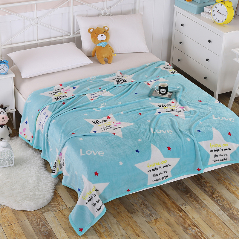cartoon star blue white new blankets fleece warm and soft bedspread twin full queen king size bedding flannel throw blankets