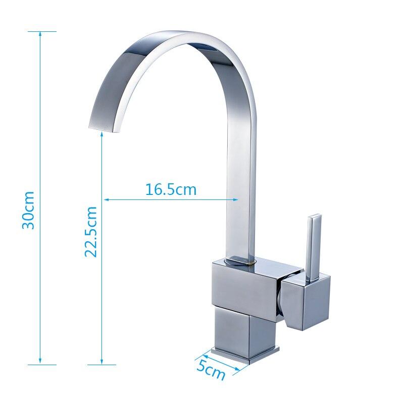 ROVATE robinet de cuisine poignée unique carré en laiton chromé pivotant 360 degrés mélangeur d'eau robinets d'évier - 4